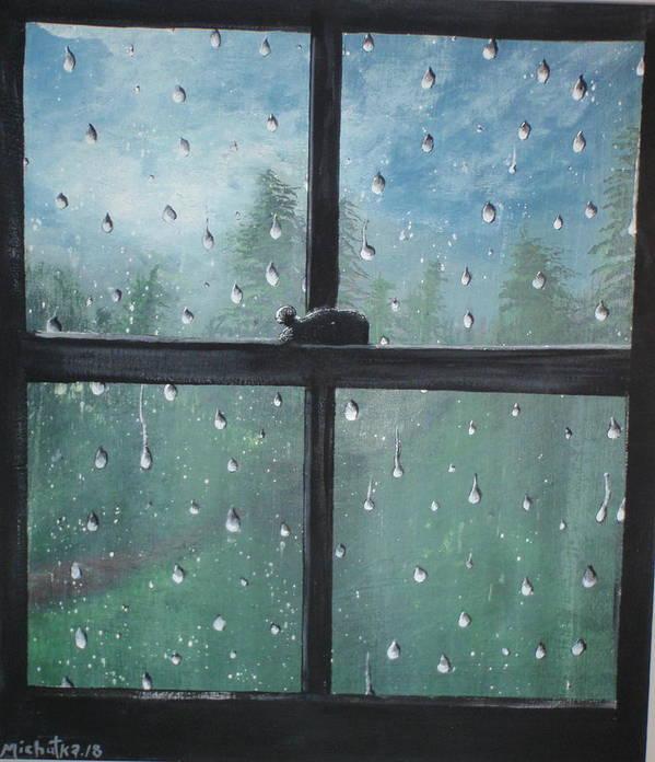 Folk Art Print featuring the painting Rain On The Window by Susan Michutka