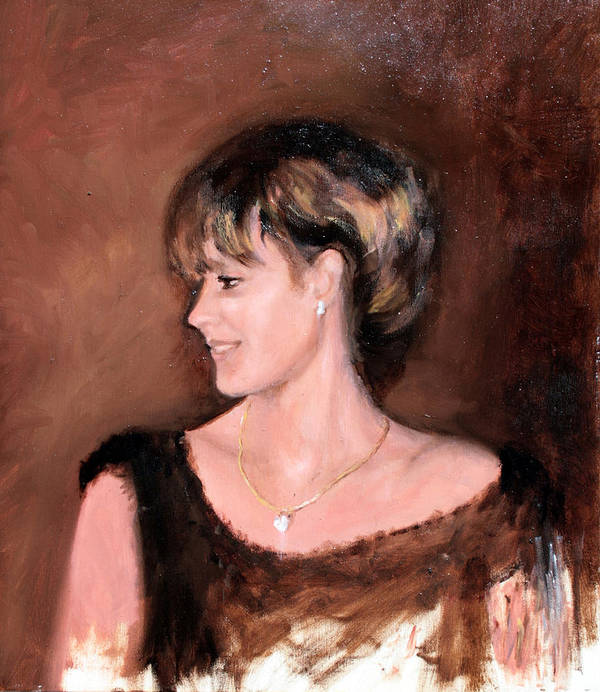 Portrait Art Print featuring the painting Sara by Mario Zampedroni