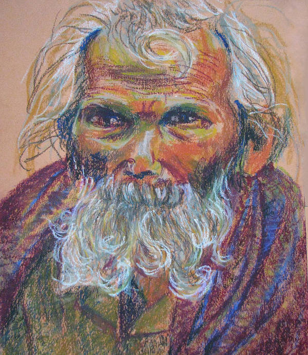 Old Man Art Print featuring the painting Scared Old Begger by Art Nomad Sandra Hansen