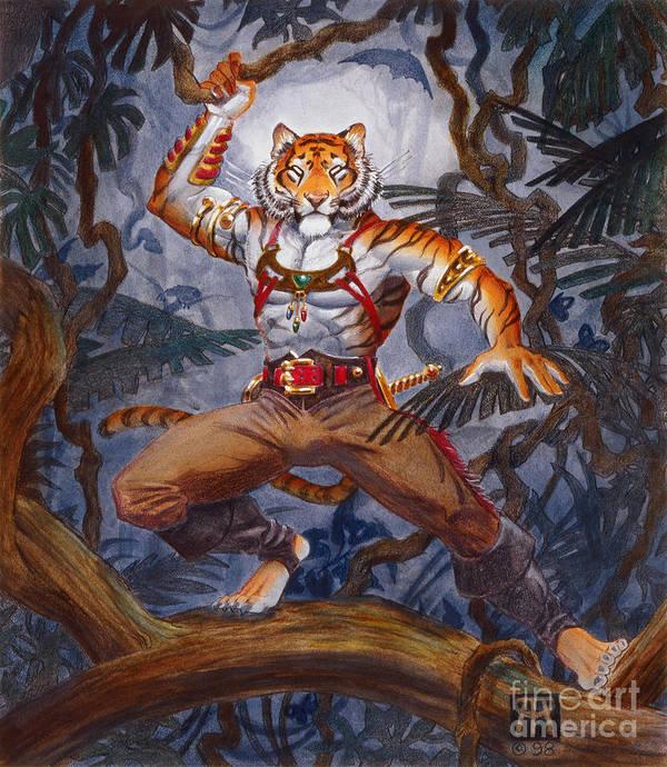 Cat Art Print featuring the painting Sense Dark by Melissa A Benson