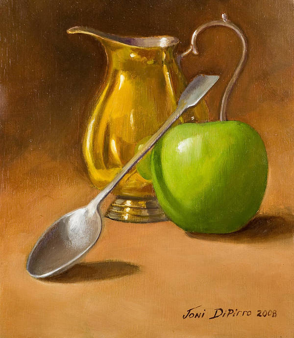 Sill Life Art Print featuring the painting Spoon And Creamer by Joni Dipirro