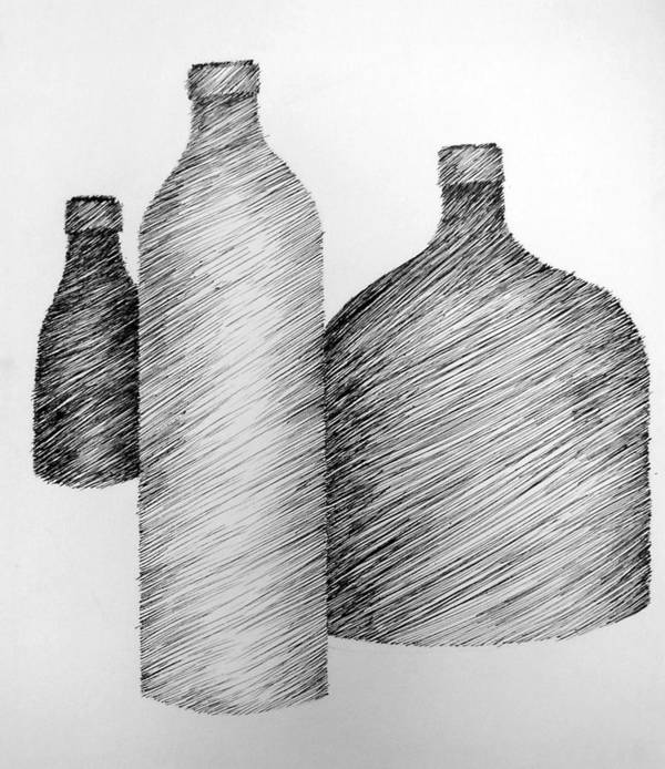 Still Life Art Print featuring the drawing Still Life With Three Bottles by Michelle Calkins