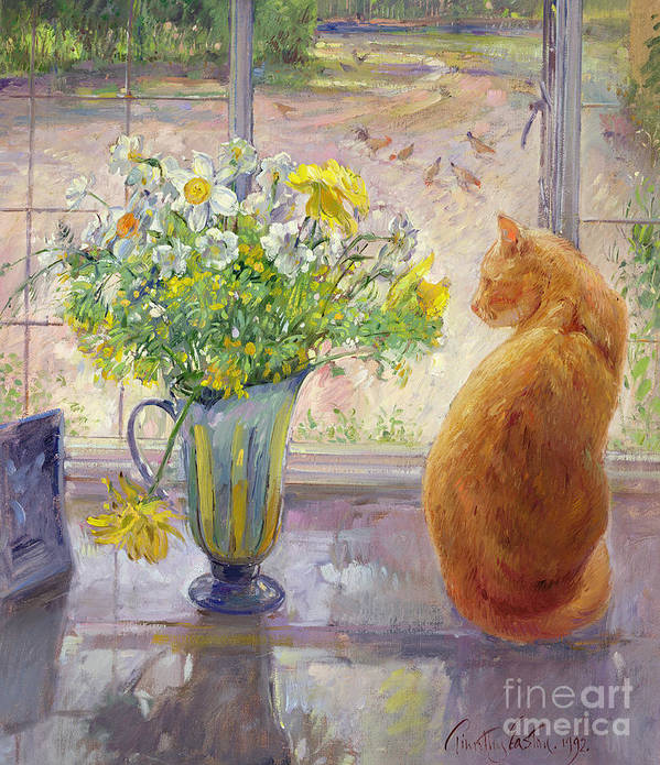 Ginger; Cat; Vase; Narcissi; Chicken; Pheasants Eye; Flower; Flowers ; Window; Open Window; Pheasant Art Print featuring the painting Striped Jug With Spring Flowers by Timothy Easton