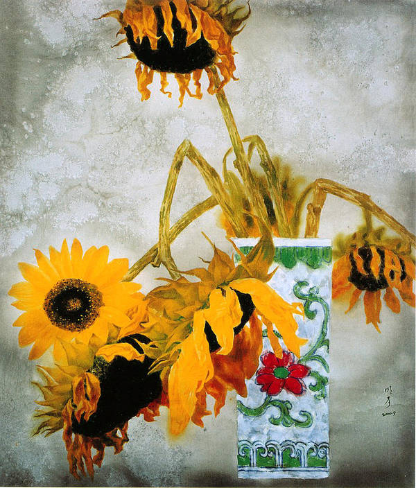 Painting Art Print featuring the painting Sun Flowers No.1 by Minxiao Liu