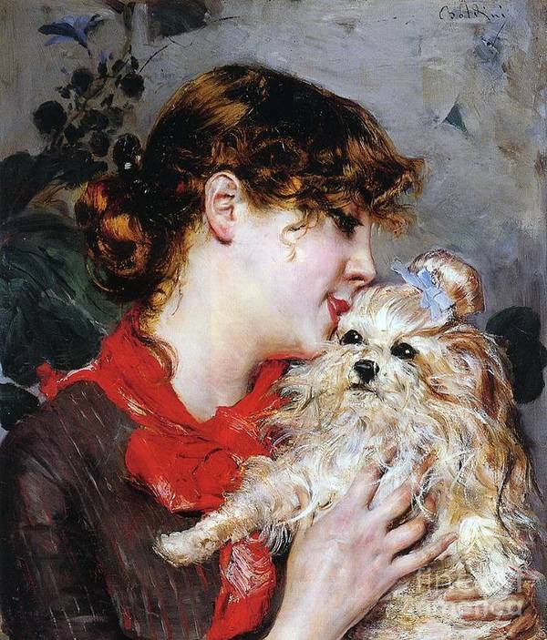 The Actress Rejane And Her Dog Art Print featuring the painting The Actress Rejane And Her Dog by Giovanni Boldini