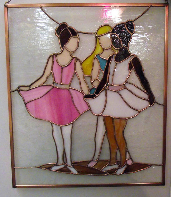 Ballet Print featuring the glass art The Ballet Dancers In Stained Glass by Arlene Wright-Correll