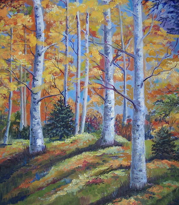 Autumn Foliage Art Print featuring the painting The Birches by Audrie Sumner