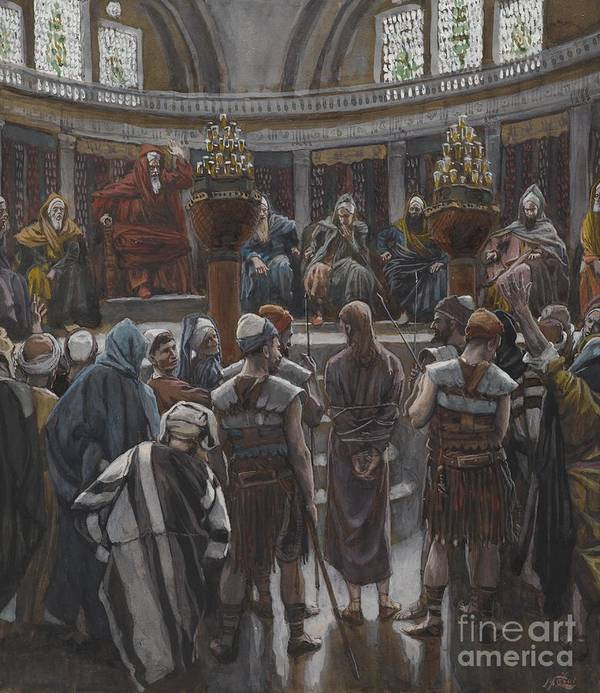 Life Of Christ; Interior; Passion; High Priest; Priests; Elders; Teachers; Male; Decision; Male; Tied Up; Bound; Trial; Tribunal; Jews; Jewish; Guilt; Guilty; Tissot Print featuring the painting The Morning Judgement by Tissot