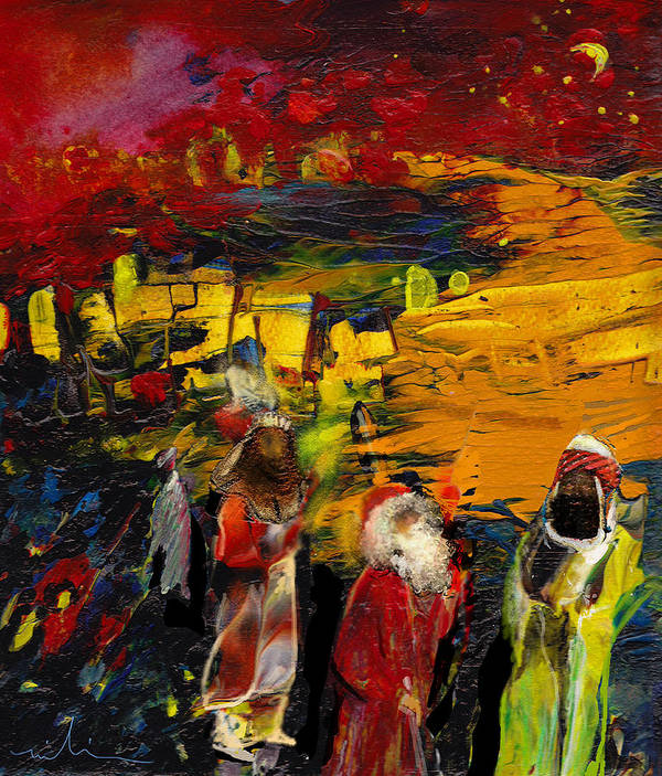 Epiphany Art Print featuring the painting The Three Kings by Miki De Goodaboom