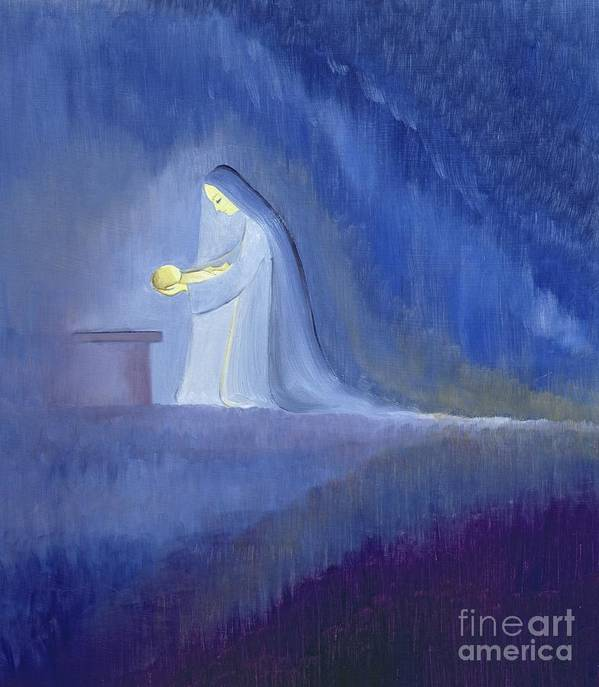 Christ; Love; Nativity; Madonna; Kneeling; Manger; Christmas; Infant; Mother; Baby; Motherhood; Catholic; Catholicism; Caring; Love; Tenderness; Loving; Holding Art Print featuring the painting The Virgin Mary Cared For Her Child Jesus With Simplicity And Joy by Elizabeth Wang