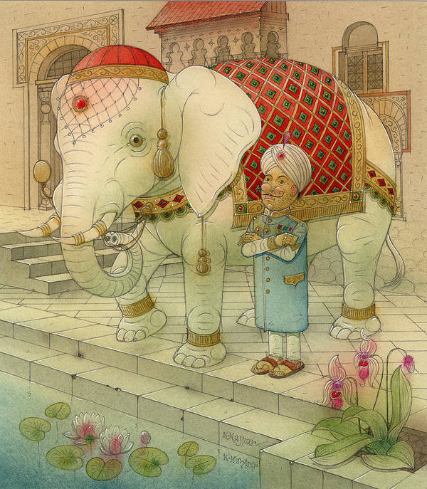 White Elephant Animals King India Water Good Luck Succes Lotus Fortune Happiness Art Print featuring the painting The White Elephant 05 by Kestutis Kasparavicius