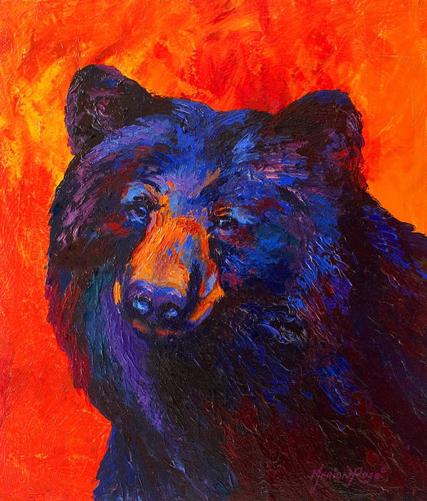 Bear Art Print featuring the painting Thoughtful - Black Bear by Marion Rose