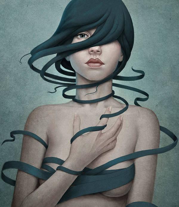 Woman Art Print featuring the digital art Twisted by Diego Fernandez