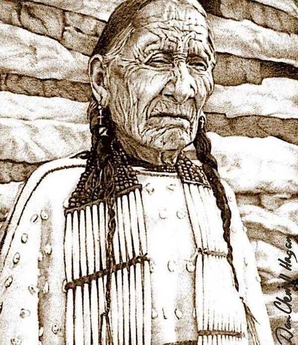 American Indian Art Print featuring the drawing Unyoungindian by Dan Clewell