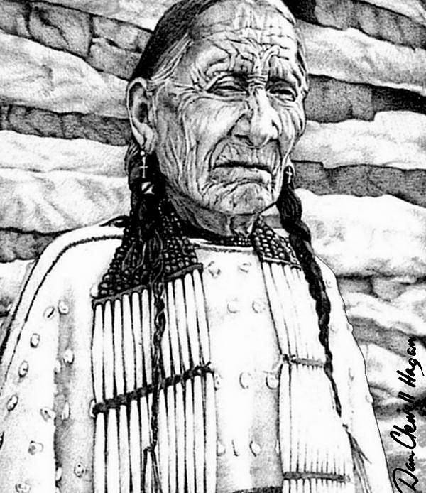 American Indian Art Print featuring the digital art Unyoungindian II by Dan Clewell