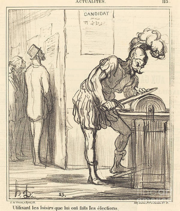 Art Print featuring the drawing Utilisant Les Loisirs... by Honor? Daumier