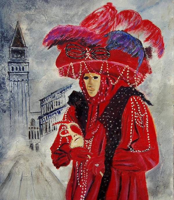 Venice Art Print featuring the painting Venitian Mask 0130 by Pol Ledent