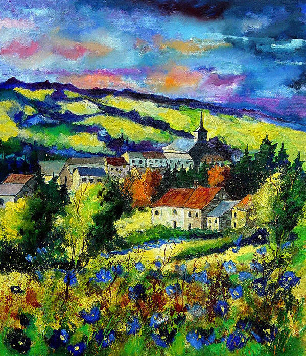 Landscape Art Print featuring the painting Village And Blue Poppies by Pol Ledent