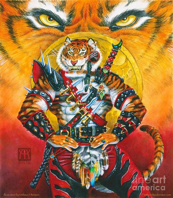 Fantasy Art Print featuring the painting Werecat Warrior by Melissa A Benson