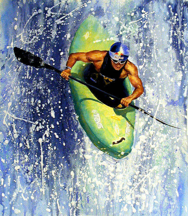 Kayaker Art Print featuring the painting Whitewater Kayaker by Lynee Sapere