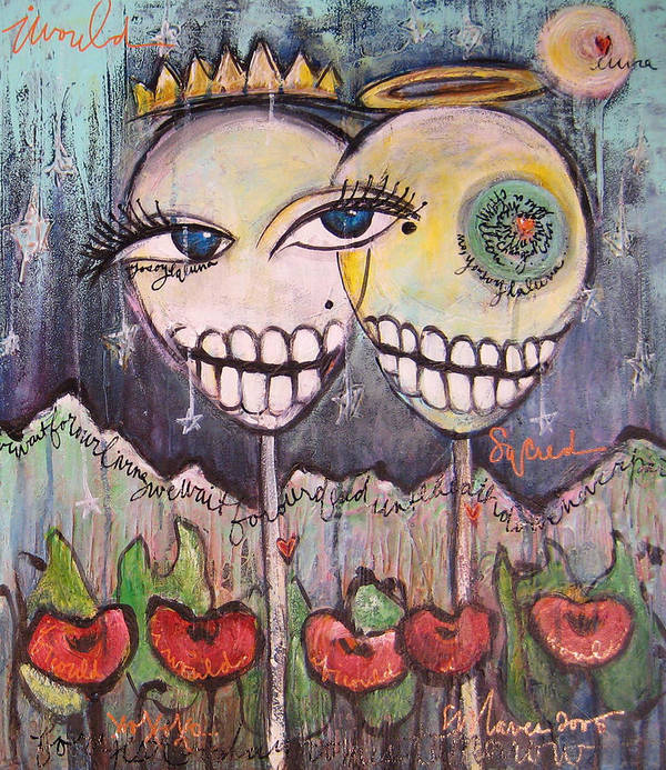 Skull Heads Art Print featuring the painting Yo Soy La Luna by Laurie Maves ART