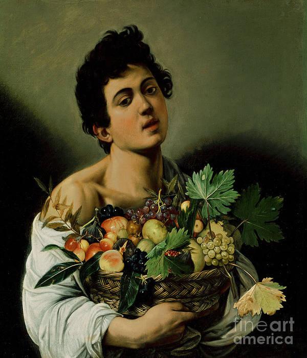 Youth With A Basket Of Fruit Art Print featuring the painting Youth With A Basket Of Fruit by Michelangelo Merisi da Caravaggio