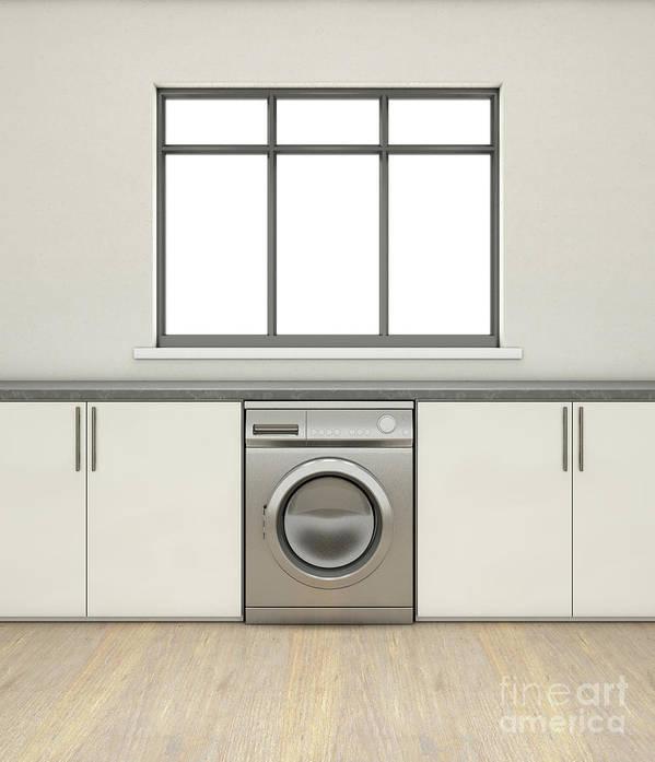 Washing Machine Art Print featuring the digital art Kitchen And Cupboards by Allan Swart