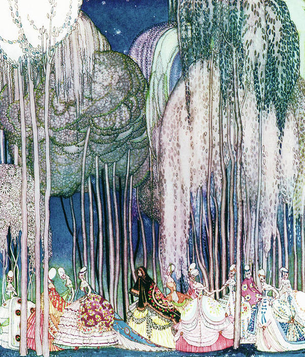 Princess Art Print featuring the painting Twelve Princesses Who Get Out Of The Castle And Dance To The Magical Kingdom by Kay Nielsen