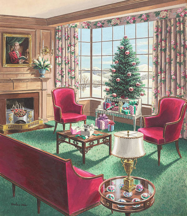 Art Print featuring the painting Illustration Of A Christmas Living Room Scene by Urban Weis