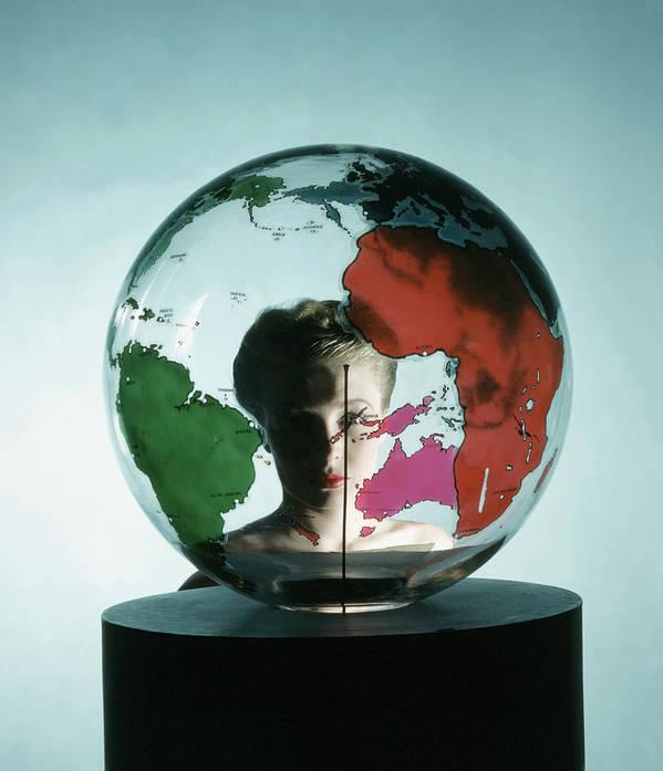 Fashion Art Print featuring the photograph Model Behing Transparent Globe by John Rawlings