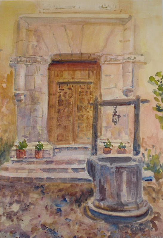 Doorway Art Print featuring the painting Chris Coloh House Well by Joyce Kanyuk