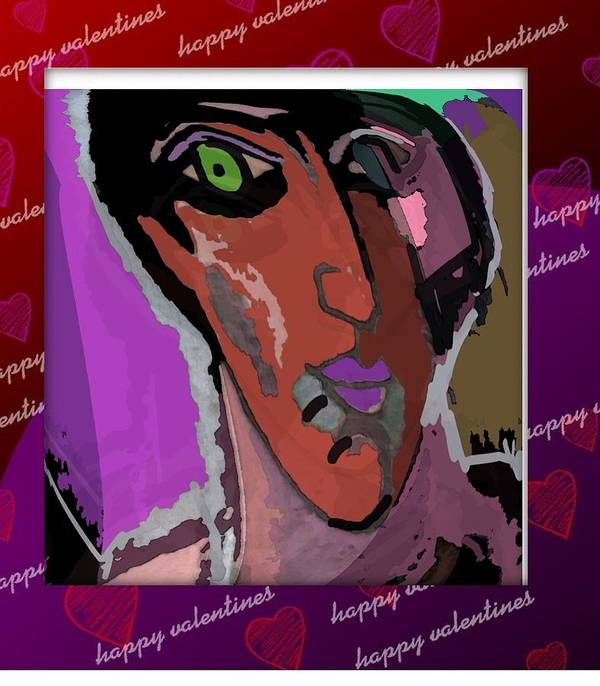 Post Card Art Print featuring the mixed media Valentine by Noredin morgan