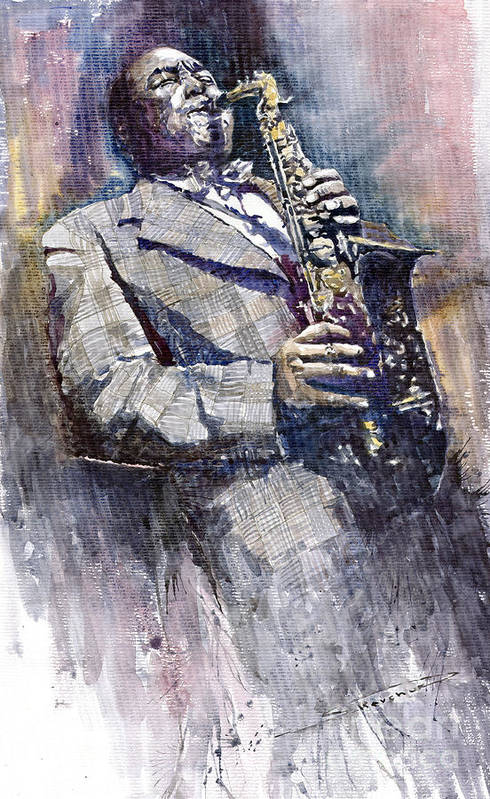 Watercolor Art Print featuring the painting Jazz Saxophonist Charlie Parker by Yuriy Shevchuk