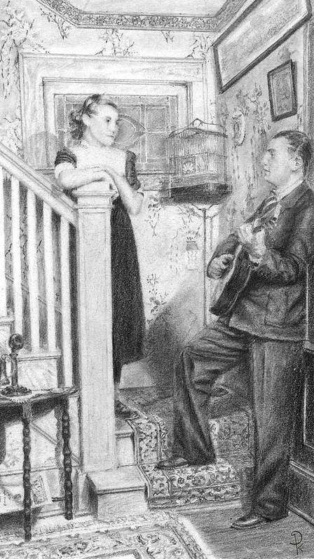 Grand Father Playing The Guitar For My Great Aunt Over 60 Art Print featuring the drawing The Serenade by Douglas Kochanski