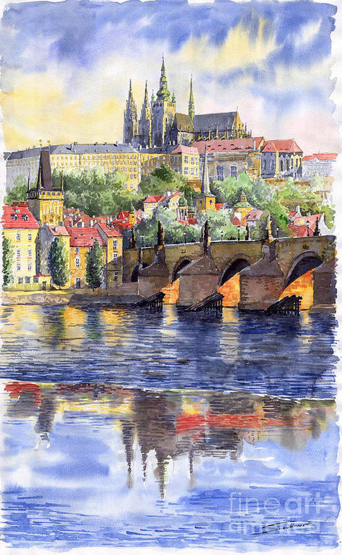 Watercolour Watercolor Prague Praha Cityscape Castle Old City Hous Bridge Art Print featuring the painting Prague Castle with the Vltava River 1 by Yuriy Shevchuk