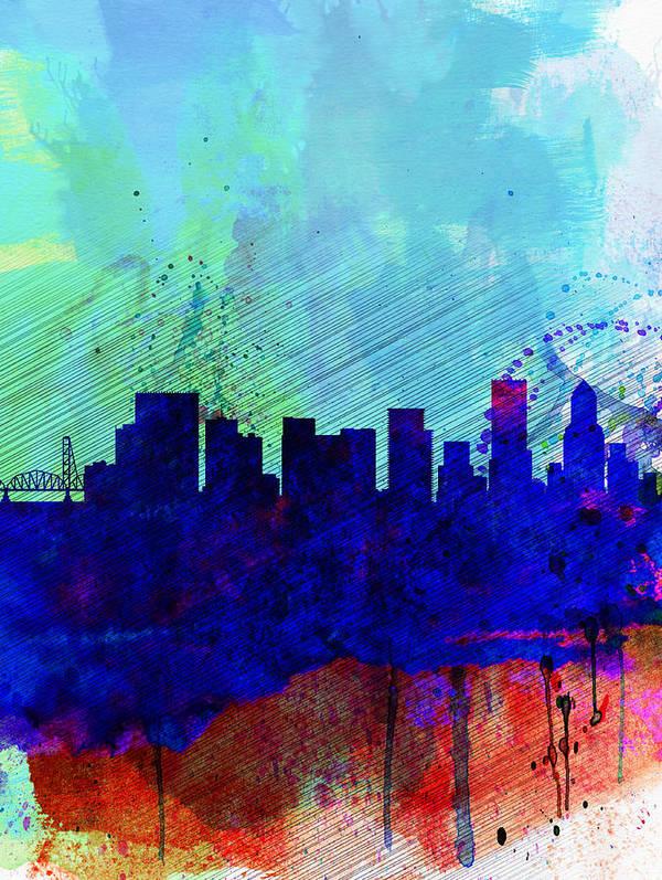 Portland Art Print featuring the painting Portland Watercolor Skyline by Naxart Studio