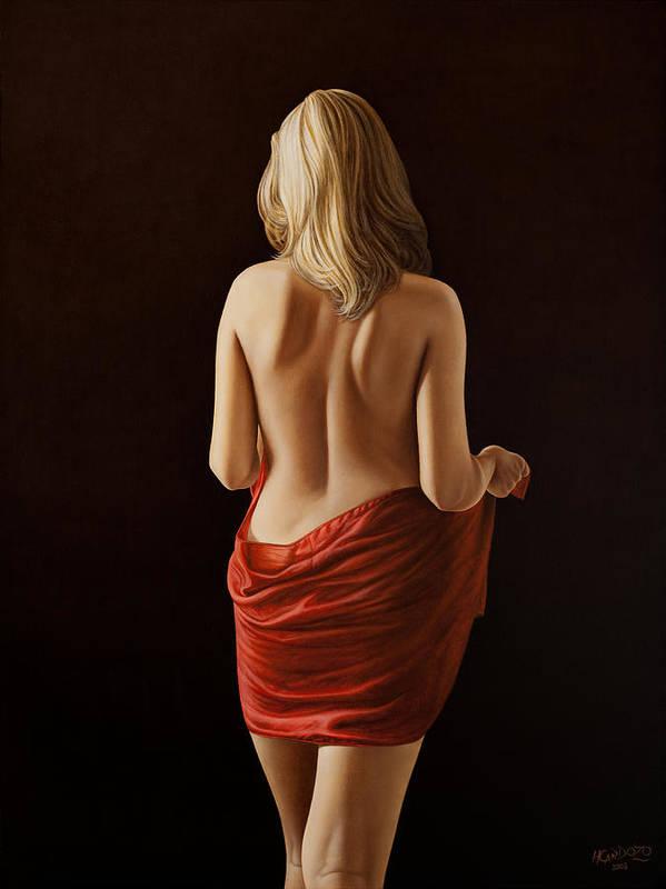 Woman Art Print featuring the painting Crimson by Horacio Cardozo