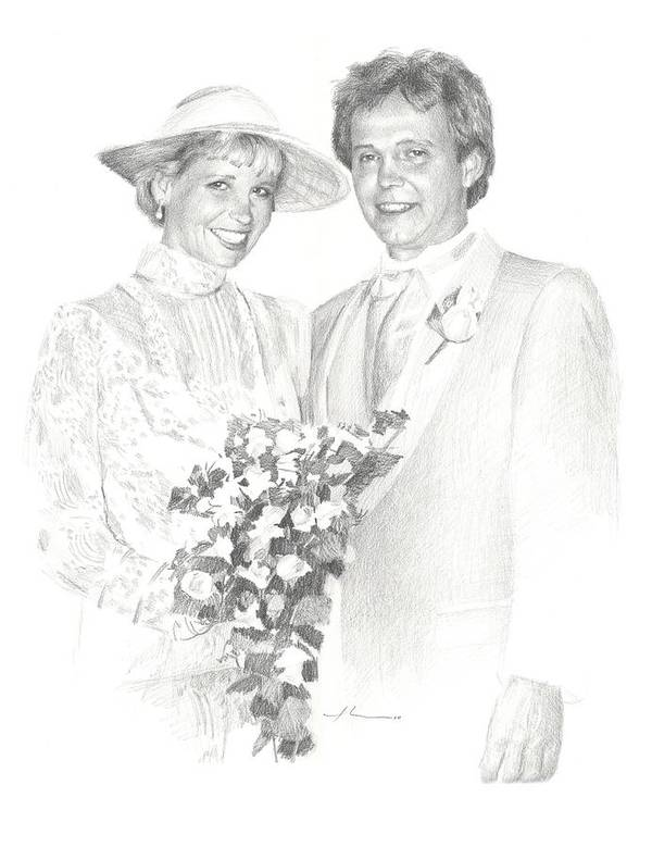 <a Href=http://miketheuer.com Target =_blank>www.miketheuer.com</a> Just Married Pencil Portrait Art Print featuring the painting Just Married Pencil Portrait by Mike Theuer