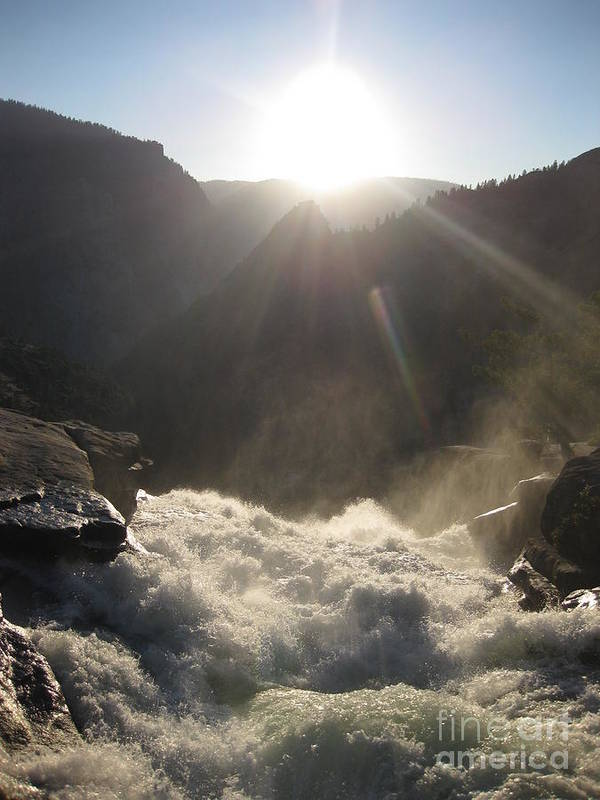 Yosemite Art Print featuring the photograph Sunwashed Rapids by AC Hamilton