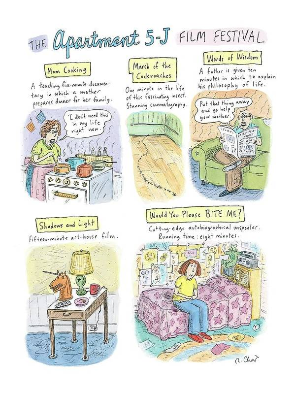 Movies Art Print featuring the drawing New Yorker September 18th, 2006 by Roz Chast
