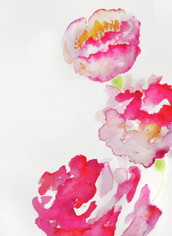 Art Art Print featuring the photograph Abstract Watercolour Flowers by Kathy Collins