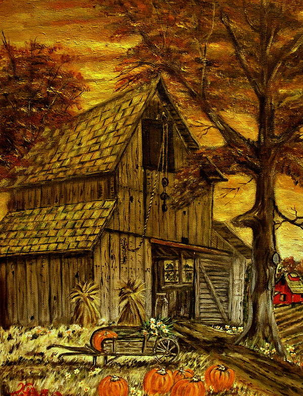 Old Barn Art Print featuring the painting Barn and Wheelbarrow by Kenneth LePoidevin