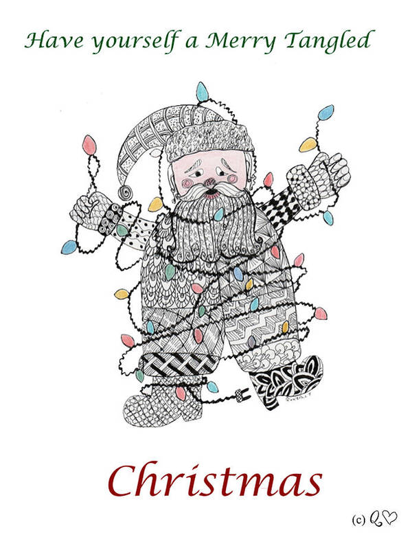 Zentangle Art Print featuring the drawing Tangled Santa by Quwatha Valentine