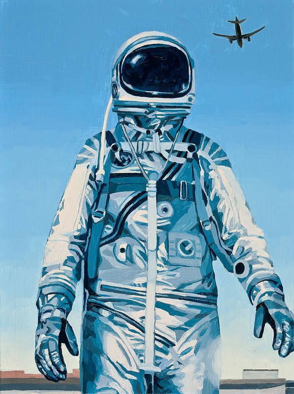Astronaut Art Print featuring the painting Under the Flight Path by Scott Listfield