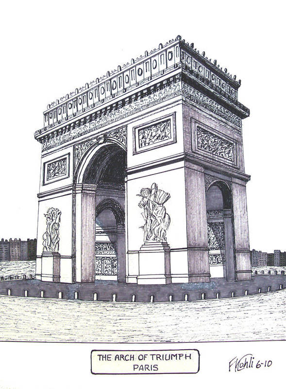 Arch Of Triumph Art Print featuring the drawing The Arch of Triumph by Frederic Kohli