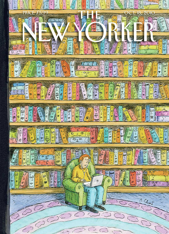 Computer Art Print featuring the painting Shelved by Roz Chast