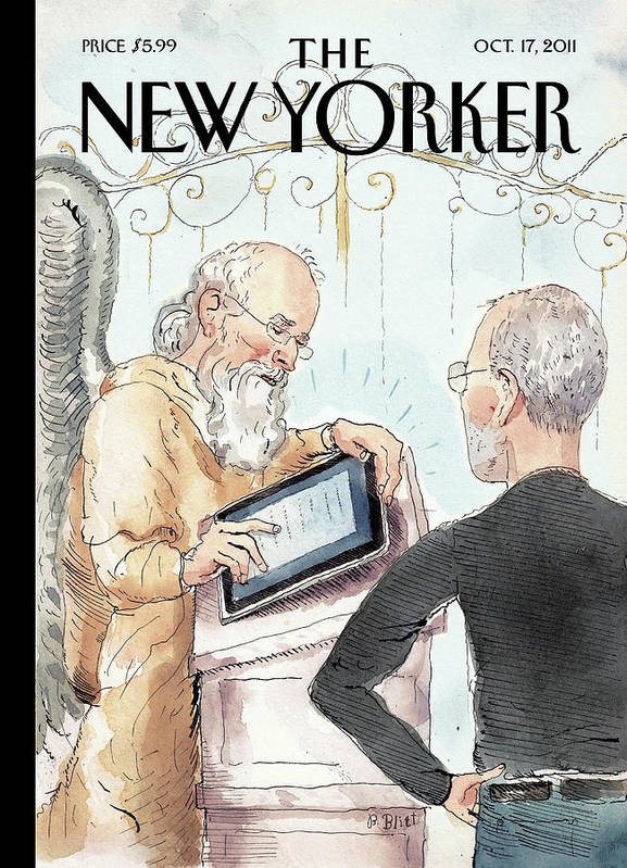 Steve Jobs Art Print featuring the painting The Book of Life by Barry Blitt