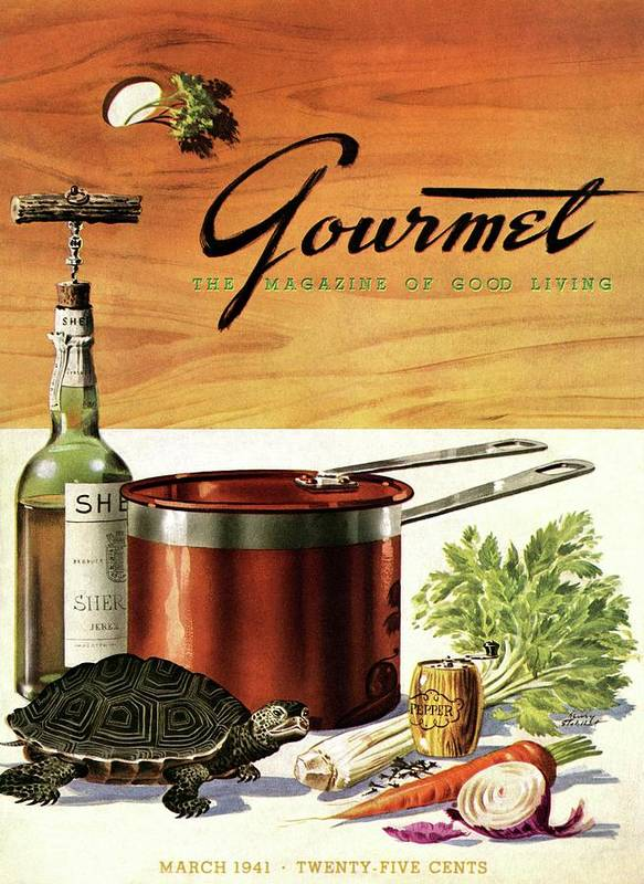 Illustration Art Print featuring the photograph A Gourmet Cover Of Turtle Soup Ingredients by Henry Stahlhut