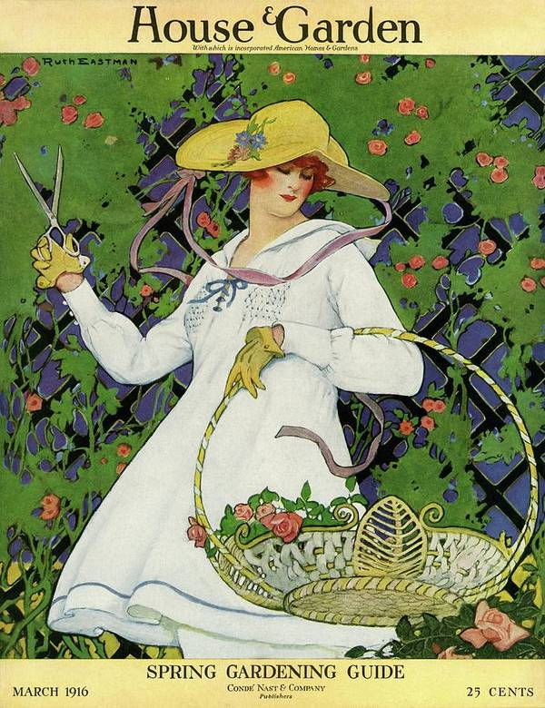 A House And Garden Cover Of A Woman Gardening Art Print By Ruth Easton
