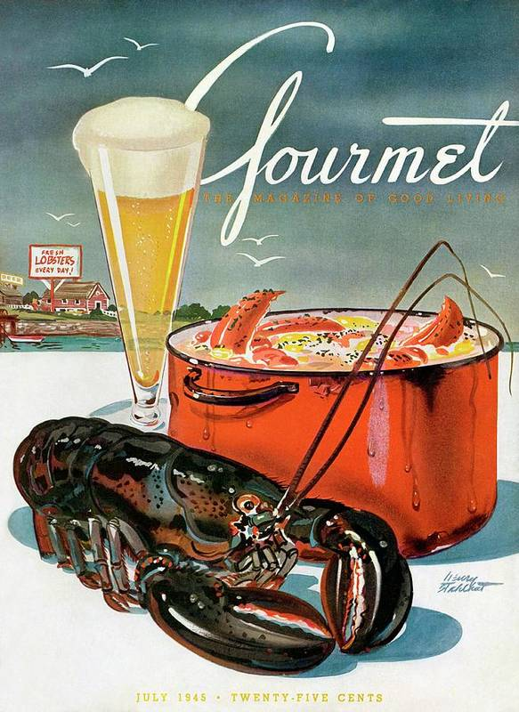 Illustration Art Print featuring the photograph A Lobster And A Lobster Pot With Beer by Henry Stahlhut